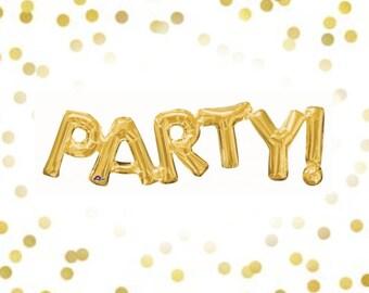 "32"" Gold Party Balloon, Party Balloon, Party! Balloon, Balloon Banner, Birthday Balloon, Bachelorette Party Balloon, Photo Booth Props"