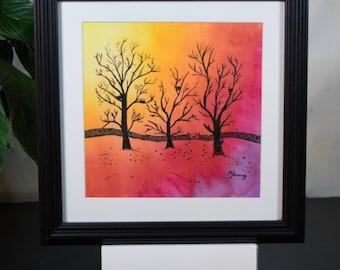 Original painting, watercolour, wall art, silk painting, landscape painting, sunset, trees, autumn, yellow, orange, red, purple, 30 x 30cm