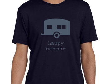 Happy Camper - Mens Graphic Tee, Camping Shirt, T-shirt, Mens Screen Printed Tee In Midnight