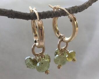 Green garnet earrings, Goldfilled earrings, Garnet gemstone, Green gemstone, Gold earring, Green earrings, Green bead earrings, January,