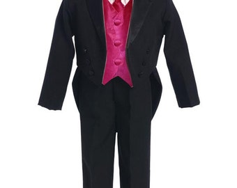 Baby Boy Tuxedo with Tales 18-24 Month, Infant Formal Tuxedo, Black Tux with Tails, New with Tags, In-Stock Ready to ship A8