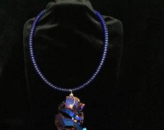 Necklace with Royal Blue Frosted Glass Beads and Titanium Aura