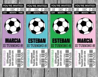 Soccer Party Invitation, Girl Soccer Invitation, Soccer Ticket Invitation-Digital