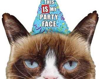 """Grumpy Cat Balloon-36"""" Foil Balloon- Funny Balloon- Birthday Party Balloon- Cat Balloon"""