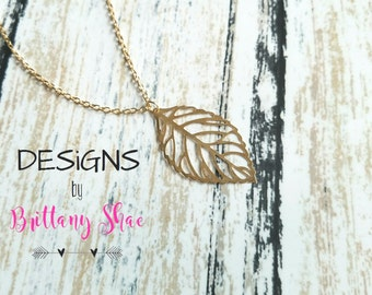 SALE** Thin Gold Leaf Necklace