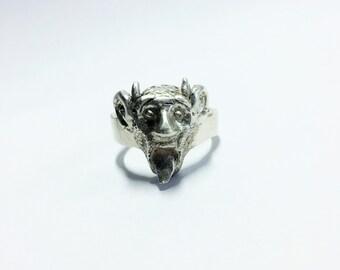 Mens Sterling Silver Ring, Listening Devil,  Biker Jewelry, Mens Biker Ring, Satan Ring, Demon Ring, Johnny Depp Jewelry  - Lugdun Artisans
