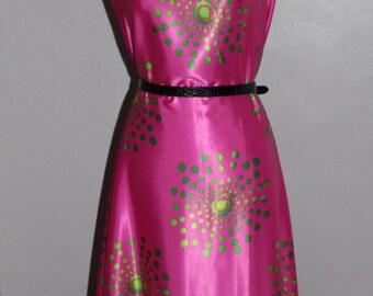 Silk fabric by the yard, Pink and Lime Green Polka Dots silk, Printed Italian silk, dress fabric, wedding dress fabric