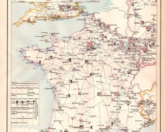 Antique French Military Map, Military, Military Map, Unique Maps, Vintage Maps, Antique Maps, France, Map of France, France Map, French Map
