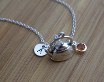 Tea Pot Necklace, Tea Lovers Necklace, Sterling Silver, Personalized, Hand Stamped Initial, Birthstone Necklace, Monogram Gift, Keepsake