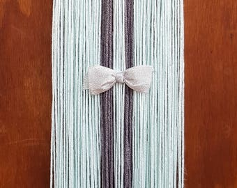 Boho Wall Hanging- Mint and Gray- Bohemian decor- Yarn wall art- Bow holder- Yarn Hanging- Boho baby - Boho nursery- Boho decor - Boho chic