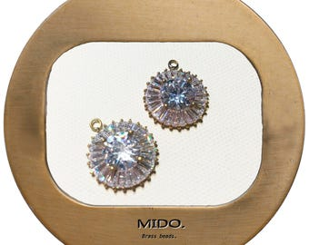 Circle Pendant/ without Polished. Brass with CZ Pendant / 2pc/ 17-109