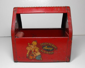 Vtg Shu-Shine Bank for Kiddies Red Pressed Steel Amsco     (518)