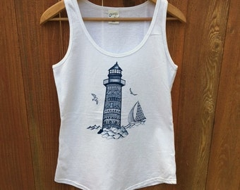 Lighthouse Tank Top, Lighthouse and Sailboat, Nautical Tees, Beach T-Shirts, Beacon of Light, Gifts for Her, Seashore Gifts