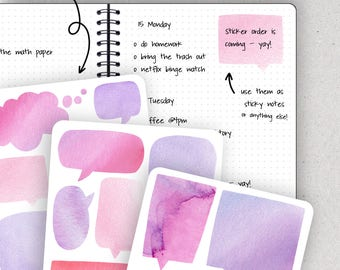 Watercolor Speech Bubbles, Speech Bubble Stickers, Doodle Stickers - Journalspiration Bullet Journal Planner Stickers - 3 versions