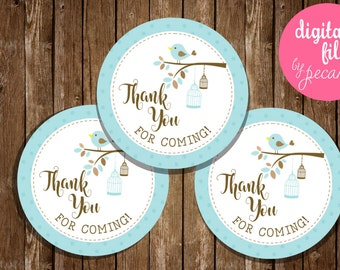 Baby bird favor tags, birdie thank you tags, baby shower tags, cupcake toppers, birthday tags, favor tags, baby shower, first birthday