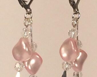 Swarovski Pearl Drop Earrings in Pink