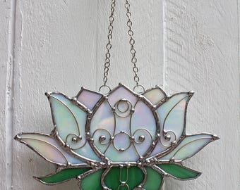 Lotus Blossom Stained Glass Suncatcher Window Ornament
