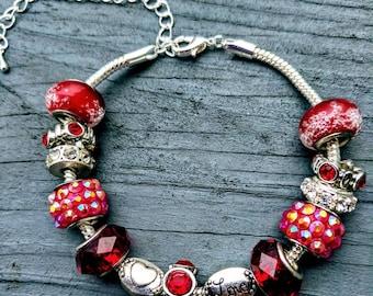 Red Love charm bracelet