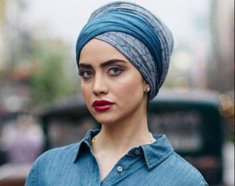 Stretchy Denim Wrap Tichel Mitpacha Scarf Jewish Hijab Pretied Turban Cotton Spandex Alopecia Jersey Sinar Beret Hat Hair Covering Jean