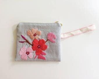 Hand Embroidered Oleander Zip Pouch