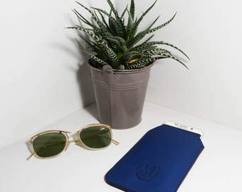 Case phone laptop Klein Blue cowhide leather.