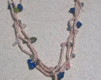 3. Gorgeous blue, green and pink gemstone necklace