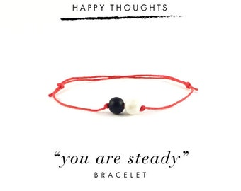 You Are Steady Bracelet For Happy Thoughts / Black Hemp, Gold Links, Dainty Minimalist Simple Thread Bracelet, Gift, Stocking Stuffer