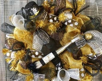 SALE!! New Years wreath,new year wreath,New Years wreaths,deco mesh wreath