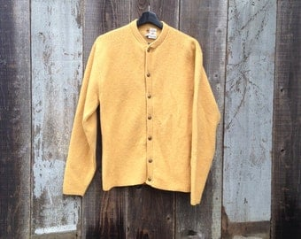 Beautiful Vintage Mustard Yellow Button Up Sweater | 80s Faded Yellow Sweater | Gold Buttoned Sweater
