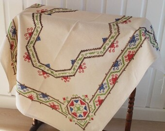 Beige Linen Cloth/ Hand Sewn Table Cloth/ Hand Stitched Table Cloth/ Home Decor (1K)