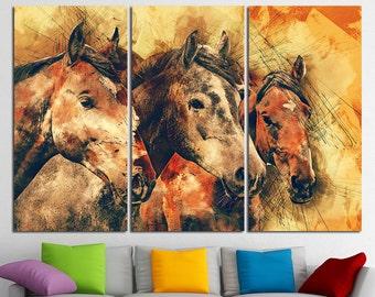Horse art Horse canvas Horse print Horse photo Horse poster Horse wall art Black Horse Horse wall decor Horse Wall Art Extra Large Canvas