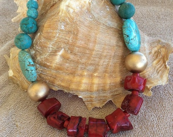 Genuine coral and turquoise necklace