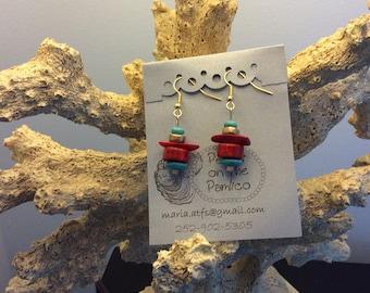 Genuine coral earrings
