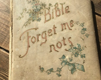 """1899 Vintage """"Bible Forget Me Nots"""" Daily Prayer Book Old Religious Book Christian Book"""