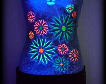 Tank top, neon, Goa, cut out, psytrance, psy, trance, Festival, top, UV, blacklight, flowers, colorful, hippie, boho