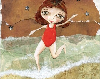 Olive Dancing In The Sea - Mixed Media 6x6 Art Print