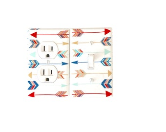 Arrows Light Switch Plate Cover / Gold Red Blue /Tribal Decor /Metallic Arrows Wall Decor/ Nursery Arrows /Modern Nursery Outlet Cover