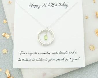 21st Birthday Gift For Her, 21st Birthday Birthstone Necklace, 21st Birthday Jewelry, 21st Birthday Gift For Daughter, 21st Keepsake Gift