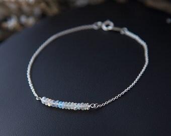 Opal Bracelet, Genuine Ethiopian Opal Bracelet, Real Opal Jewelry, White Opal Bracelet October Birthstone Bracelet Fine Jewelry Gift for Her