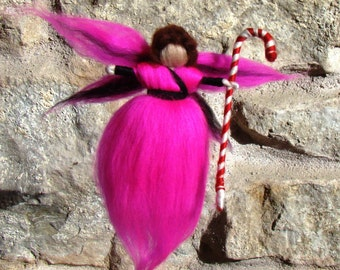 christmas tree elf, pink stocking stuffer, elf and candy cane, hanging pixie doll, needle felted elf, wool felted toy, dolls of felt merino
