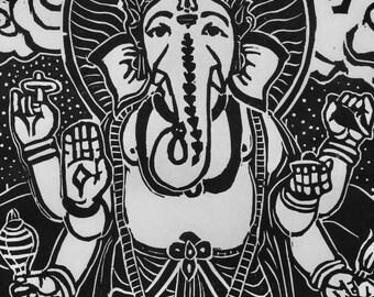 Six-armed Ganesha, Standing Ganesha Ganehsa woodblock mokuhanga Ganesha Remover of obstacles, Buddha woodblocks, 11x14 Ganesha FaithStoneArt