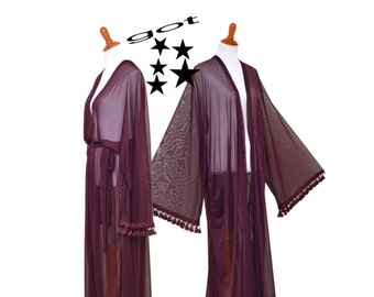 Women long robe, Intimate kimono, chic Cardigan, long sheer cardigan, maroon tassel robe, maxi kimono, auburn long robe, purple bridal robe