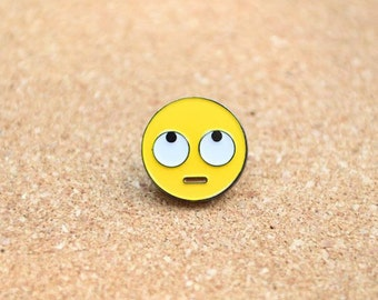 Face With Rolling Eyes Emoji Lapel Hat Pin