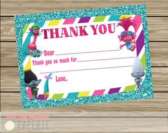Trolls Birthday Party Thank You Cards, Instant Download, Glitter, Bright Colors, digital printable
