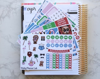 Palm Spring // Weekly Planner Stickers Kit // (200+stickers)