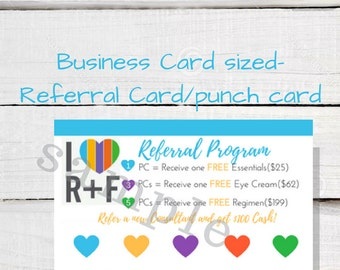 Rodan + Fields Referral Card- Business Card Sized Punch Card for Rodan and Fields