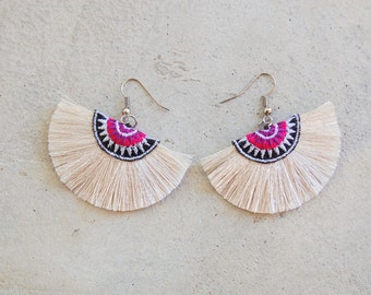 Small Handmade Off-White Half Moon Tassel Earrings