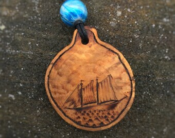 Seascape Sailboat Pendant, wooden necklace, wood pendant, pyrography pendant, wood burned necklace, wood jewelry, wooden pendant