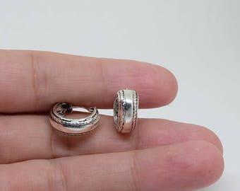 Bali Patterned Sterling Silver Hoop Earrings, Everyday Earrings, Basic Earrings, Sterling Silver Jewelry