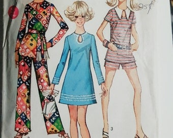1970 Simplicity 8758 Junior's Tunic and Dress Size 13/14 CUT  Missing Pants Pieces Sewing Pattern ReTrO GrOOvy!
